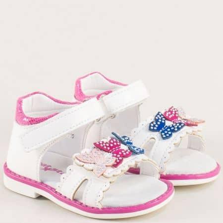 Бели детски сандали с кожена стелка и лепка- MAT STAR 018193b