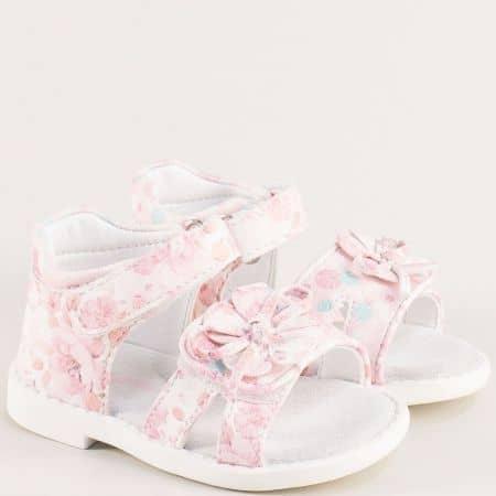 Розови детски сандали с лепка и кожена стелка- MAT STAR 018194rz