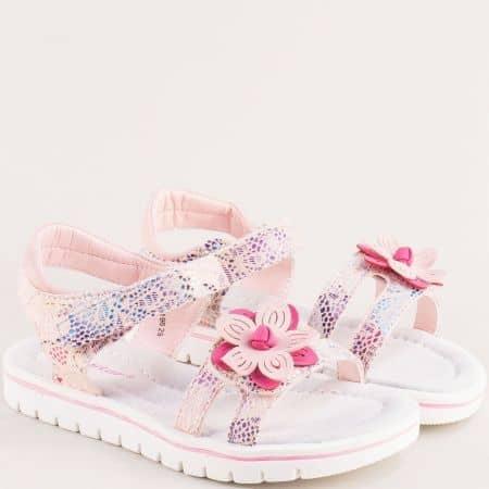 Детски сандали с кожена стелка в розов цвят- MAT STAR 018196rz