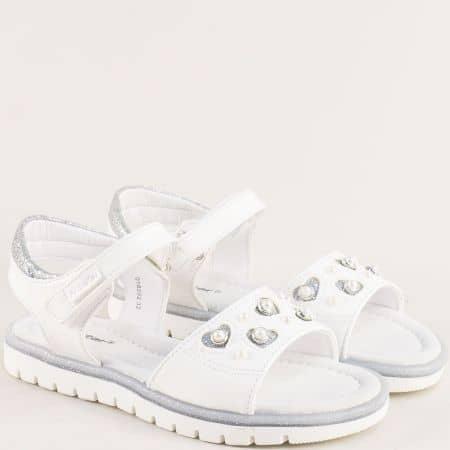 Детски сандали в бяло и сребро с кожена стелка 018202b