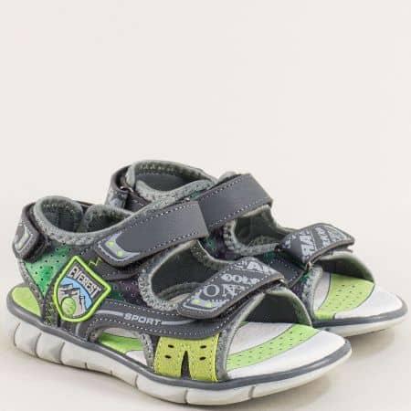 Сиви детски сандали с кожена стелка и лепки- MAT STAR 018206sv