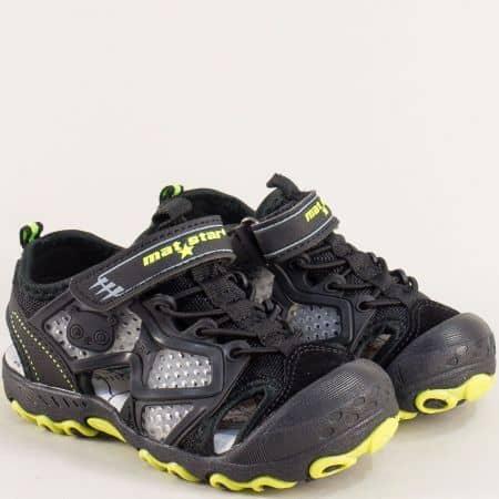 Черни детски сандали с кожена стелка и лепка- MAT STAR 018211ch