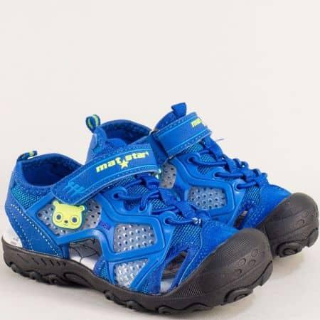 Сини детски сандали с лепка и кожена стелка- MAT STAR 018211s