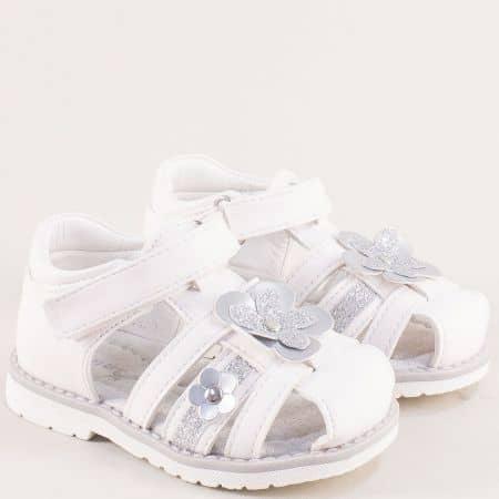 Детски сандали в сребро и бяло с кожена стелка- MAT STAR 018220b