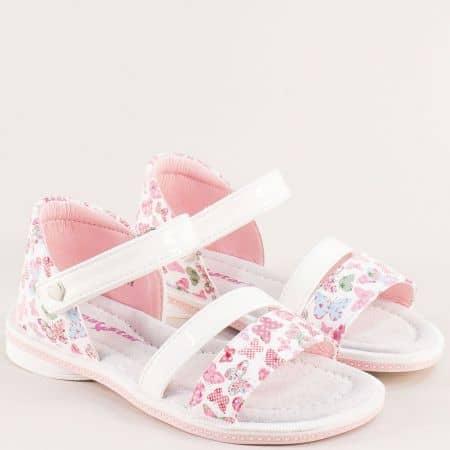 Детски сандали със затворена пета в бяло и розово- MAT STAR 018230lb