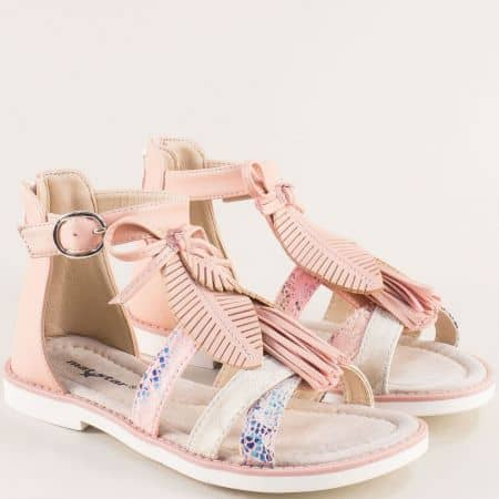 Розови детски сандали с кожена стелка и закачлива декорация- MAT STAR 018233rz
