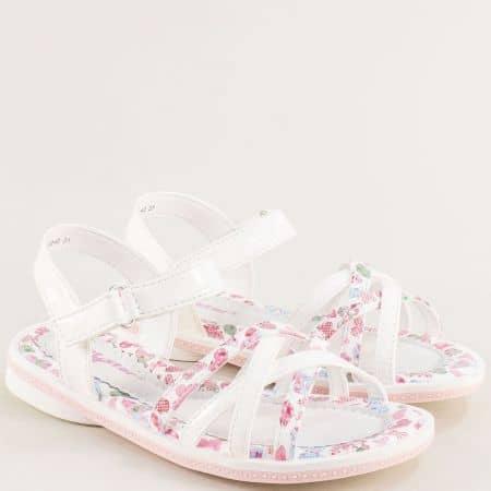 Бели детски сандали с частичен флорален принт- MAT STAR 018240lb
