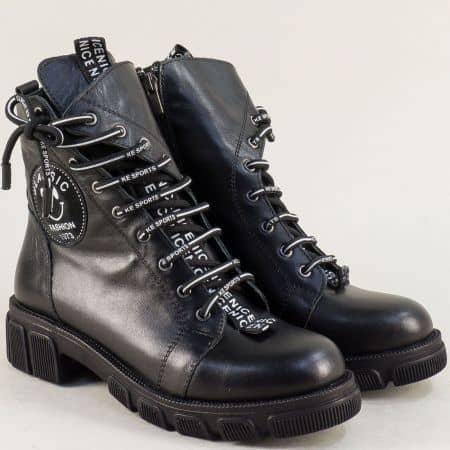 Черни дамски боти с цип и връзки на нисък ток 0187057ch