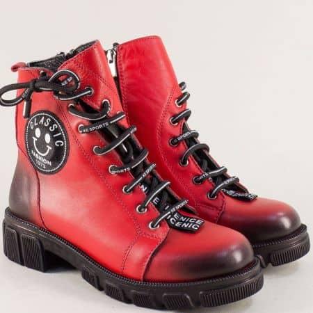 Червени дамски боти на нисък ток от естествена кожа 0187057chv