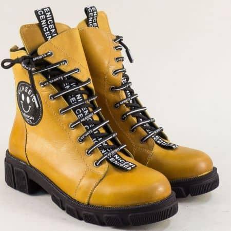 Жълти дамски боти на нисък ток от естествена кожа 0187057j