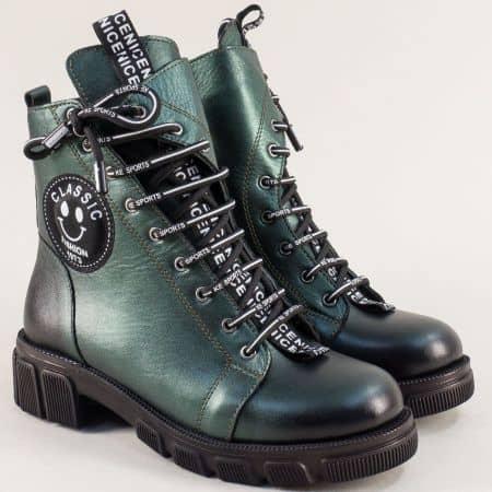 Зелени дамски боти на нисък ток от естествена кожа 0187057z
