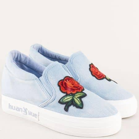 Сини дамски обувки с декорация на стабилна платформа 0196dss