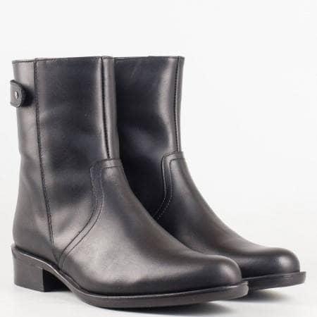 Дамски комфортни боти със сая от висококачествена естествена кожа в черен цвят 01ch