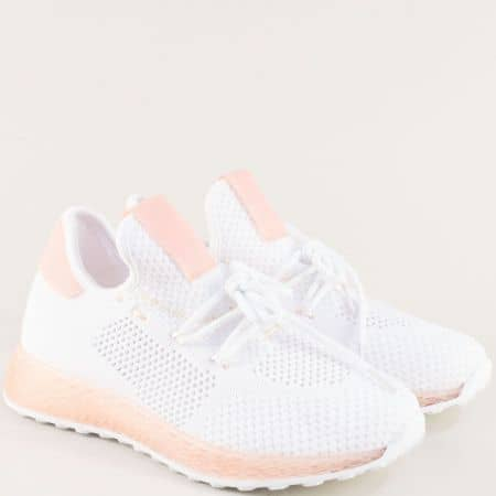 Спортни дамски обувки в бяло и розово с връзки 02-40brz