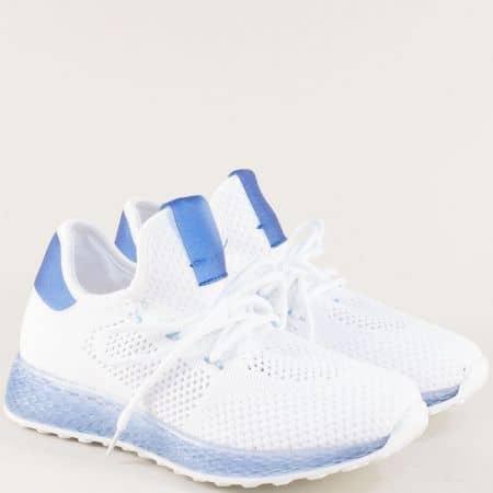 Дамски маратонки в синьо и бяло на равно ходило 02-40bs