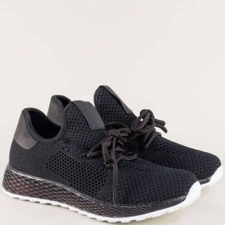Спортни дамски обувки с връзки в черен цвят 02-40ch