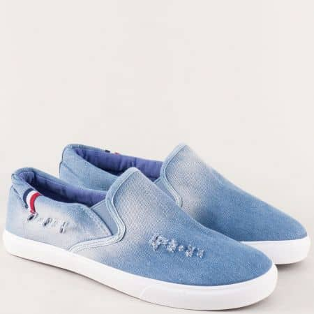Дънкови мъжки обувки в синьо на равно ходило 02015dss