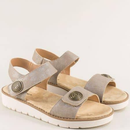 Бежови дамски сандали с две лепки на равно ходило- MAT STAR 021132bj