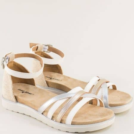 Дамски сандали със затворена пета в бяло, бежово, бронз и сребро 021134bps