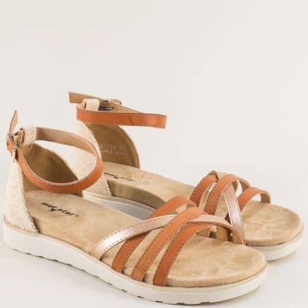 Дамски сандали със затворена пета в оранж и бежово- MAT STAR 021134kps