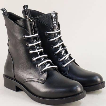 Дамски боти в черен цвят на нисък ток от естествена кожа 0212ch