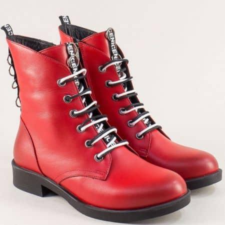 Кожени дамски боти в червен цвят на нисък ток 0212chv