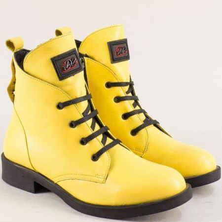 Жълти дамски боти на нисък ток от естествена кожа 022920j