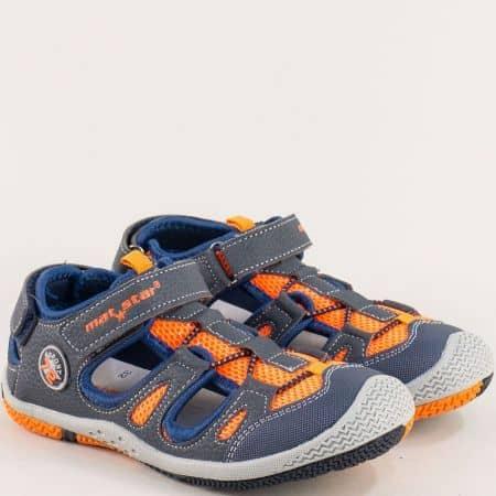 Спортни детски обувки с лепка и прорези в синьо и оранж- MAT STAR 026358s