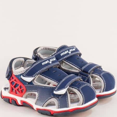 Сини детски сандали с велкро лента и кожена стелка 026359s
