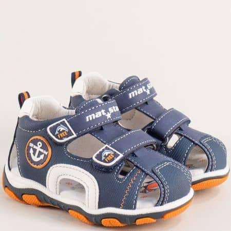 Сини детски сандали с две лепки и кожена стелка 026360s