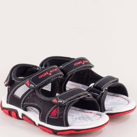 Черни детски сандали с лепка и кожена стелка- MAT STAR 026361ch