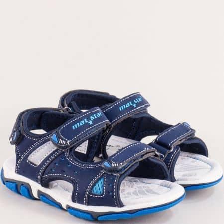 Сини детски сандали с три лепки и кожена стелка 026361s