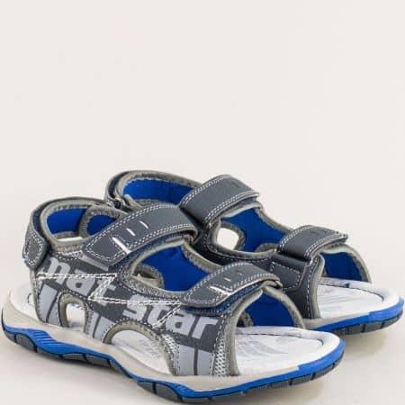 Детски сандали с три лепки в син цвят- MAT STAR 026362s