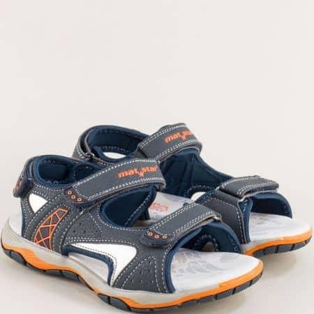 Сини детски сандали с кожена стелка- MAT STAR 026366s