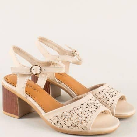 Дамски сандали в бежов цвят на среден ток- MAT STAR 028499bj