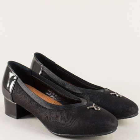 Дамски обувки на нисък ток в черен цвят- MAT STAR 028518ch