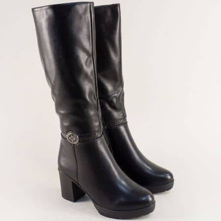 Черни дамски ботуши на висок ток и платформа 028530ch