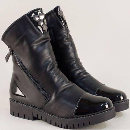 Модни черни дамски боти Елиза 028547chlch