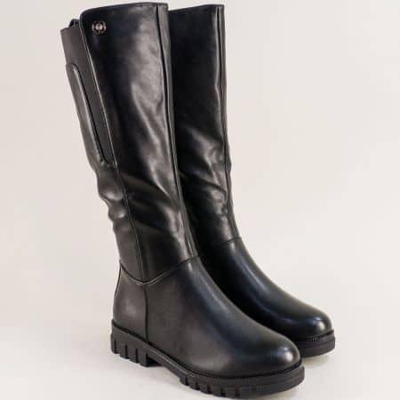 Дамски ботуши в черен цвят на нисък ток- MAT STAR 028601ch