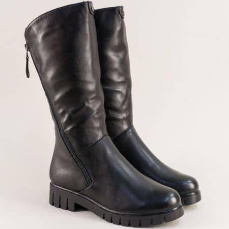 Черни дамски ботуши с два ципа на нисък ток- MAT STAR 028602ch