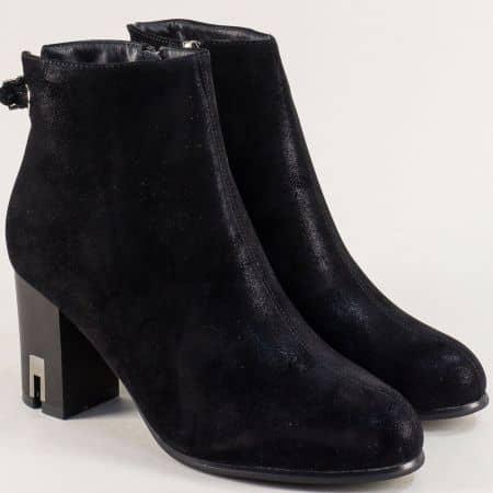 Дамски боти на висок ток с декорация в черен цвят 028618nch