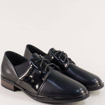 Черни дамски обувки с ластик и връзки на нисък ток- MAT STAR 028627ch