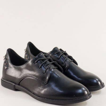 Равни дамски обувки с връзки в черен цвят- MAT STAR 028628ch