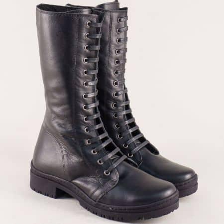 Черни дамски боти, тип кубинка от естествена кожа 028ch