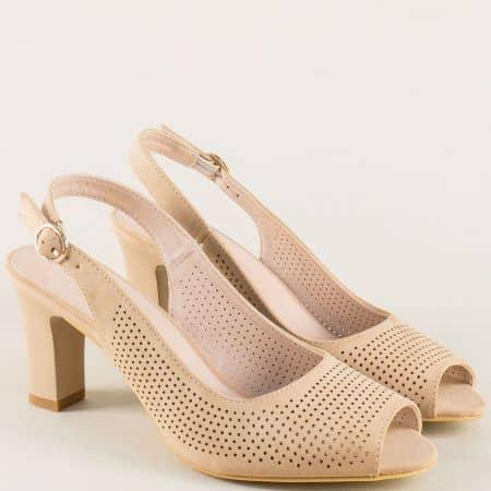 Дамски сандали на висок ток в бежов цвят- MAT STAR 029122bj