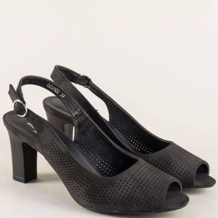 Дамски сандали  в черен цвят на висок ток- MAT STAR 029122ch