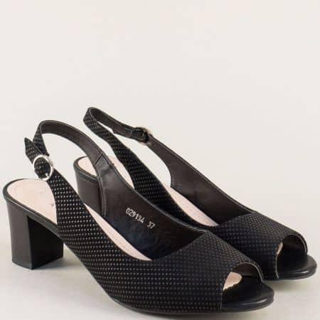 Дамски сандали на среден ток в черен цвят- MAT STAR 029134tch