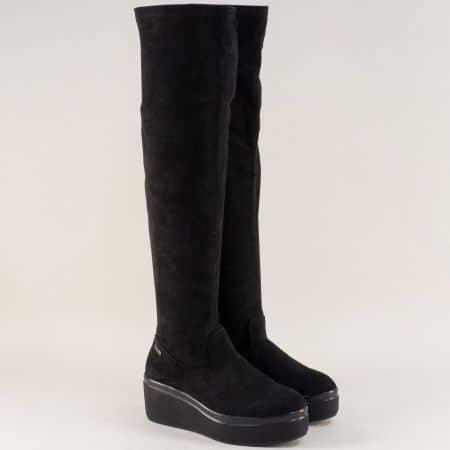 Черни дамски ботуши на платформа тип чизма 029191nch