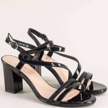 Дамски сандали на висок ток в черен лак 029214lch