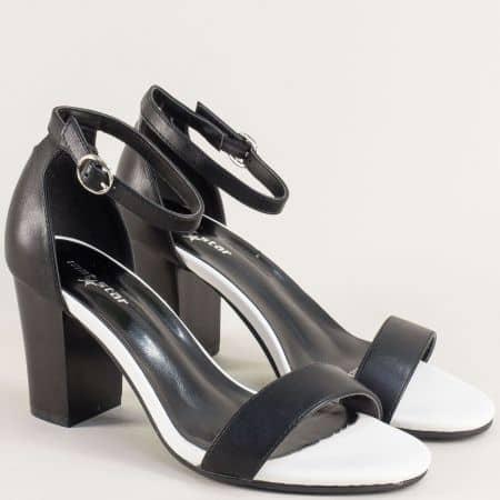 Черни дамски сандали със затворена пета на висок ток 029215ch